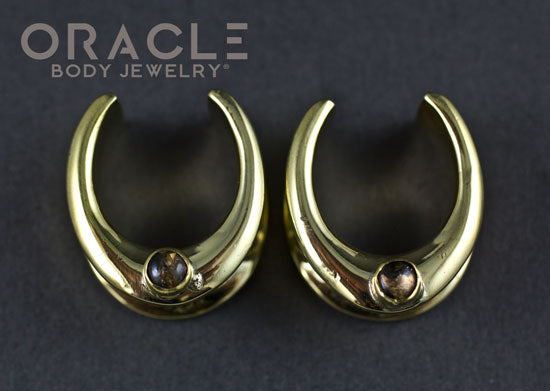 "3/4"" (19mm) Brass Saddles with Copper in Obsidian"