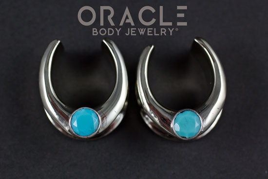 "3/4"" (19mm) White Brass Saddles with Faceted Turquoise"