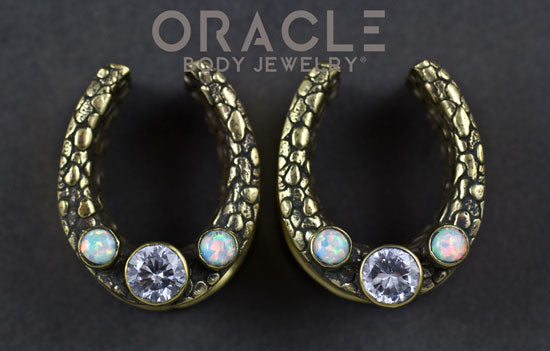 "7/8"" (22mm) Brass Saddles with Nugget Texture and White Synthetic Opals and CZs"