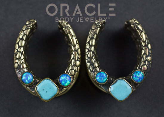 "7/8"" (22mm) Brass Saddles with Nugget Texture and Natural Turquoise and Blue Synthetic Opals"