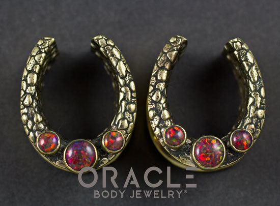 "7/8"" (22mm) Brass Saddles with Nugget Texture and Black Synthetic Opals"