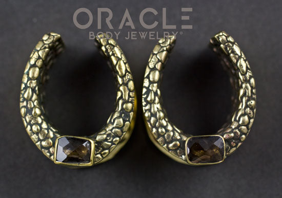 "7/8"" (22mm) Brass Saddles with Nugget Texture and Emerald Cut Smoky Quartz"