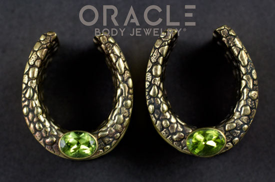 "7/8"" (22mm) Brass Saddles with Nugget Texture and Peridot"