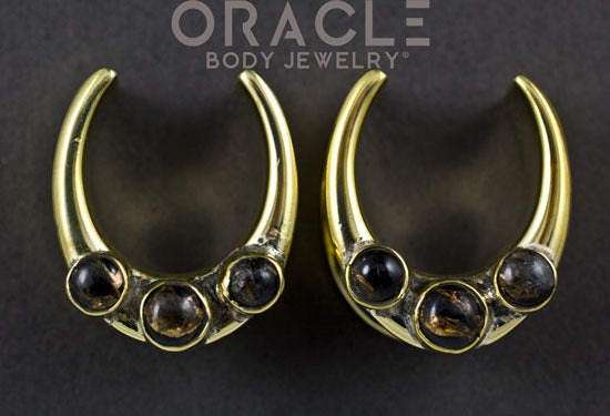 "7/8"" (22mm) Brass Saddles with Triple Copper Obsidian"