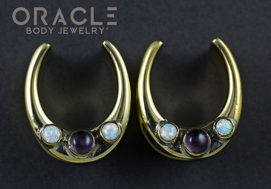 "7/8"" (22mm) Brass Saddles with Amethyst and White Synthetic Opals"