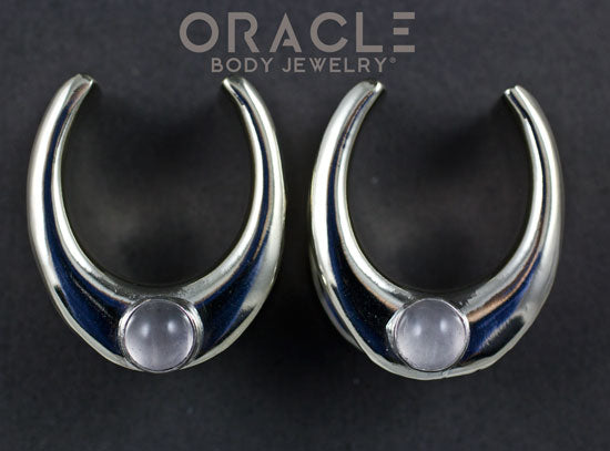 "7/8"" (22mm) White Brass Saddles with Rose Quartz"