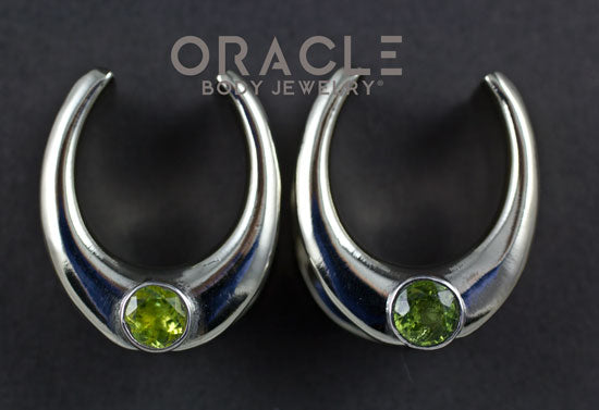 "7/8"" (22mm) White Brass Saddles with Peridot"