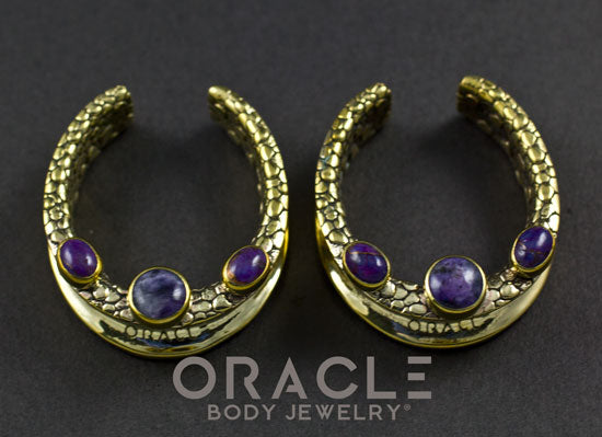 "1-1/4"" (32mm) Brass Saddles with Charoite and Copper Purple Turquoise"