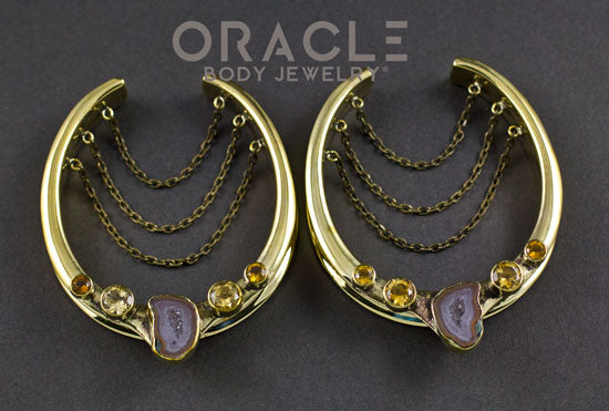 "2"" (51mm) Brass Saddles with Chains, Agate Geodes and Faceted Citrine"