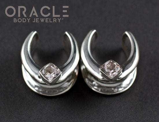 "5/8"" (16mm) Sterling Silver Saddles with Morganite"