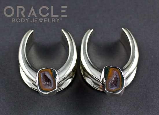 "1"" (25mm) Sterling Silver Saddles with Agate Geodes"