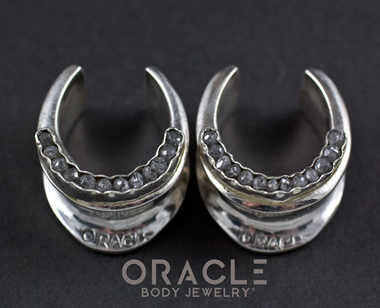 "3/4"" (19mm) Sterling Silver Saddles with Channel Set Grey Raw Polished Diamonds"