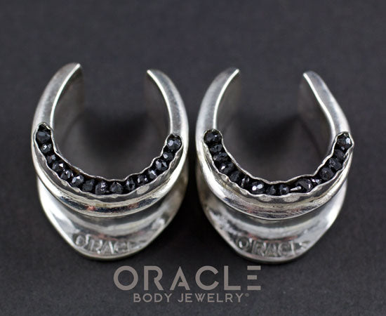 "3/4"" (19mm) Sterling Silver Saddles with Channel Set Black Raw Diamonds"