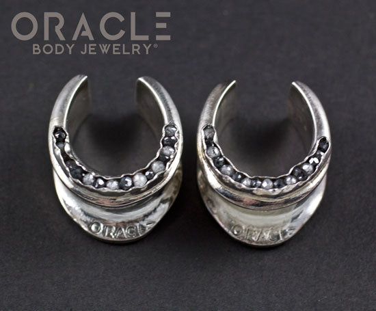 "3/4"" (19mm) Sterling Silver Saddles with Channel Set Black and Grey Raw Diamonds"