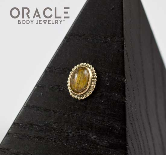 14k Rutilated Quartz Oval Threadless Gold End