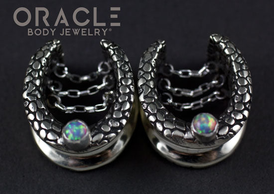 "3/4"" (19mm) White Brass Saddles with Nugget Texture, Chains and Pink Synthetic Opals"