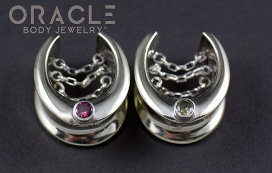 "3/4"" (19mm) White Brass Saddles with Chains and Tourmalines"