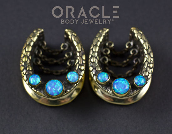 "7/8"" (22mm) Brass Saddles with Nugget Texture, Chains and Blue Synthetic Opals"