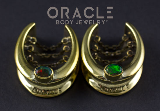 "1"" (25mm) Brass Saddles with chains and Ethiopian Black Opal"