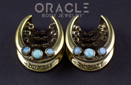 "1"" (25mm) Brass Saddles with Chains and Turquoise and Larimar"