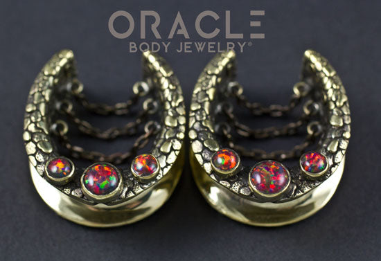 "1"" (25mm) Brass saddles with Chains and Black Synthetic Opals"