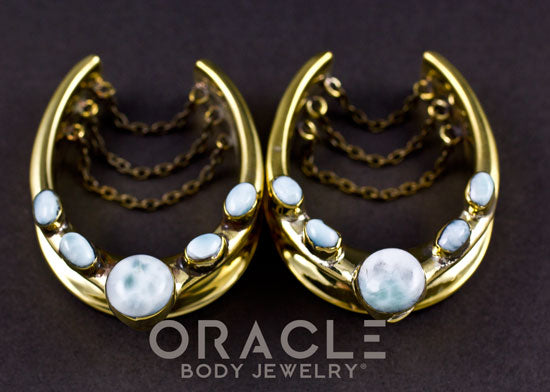 "1-1/2"" (38mm) Brass Saddles with Chains and Larimar"