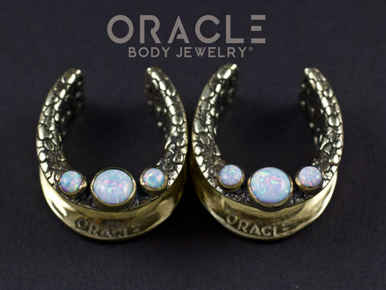 "1"" (25mm) Brass Saddles with White Synthetic Opals"