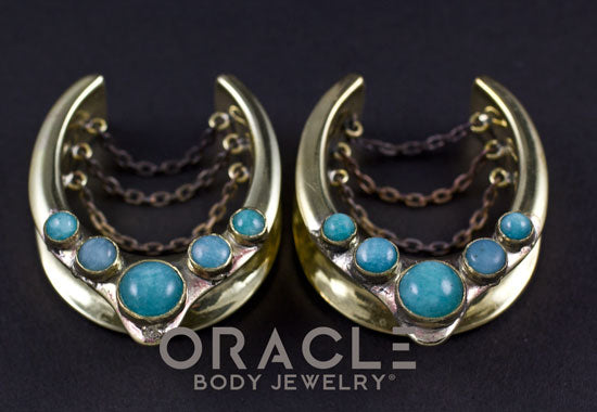 "1-1/4"" (32mm) Brass Saddles with Chains and Amazonite"