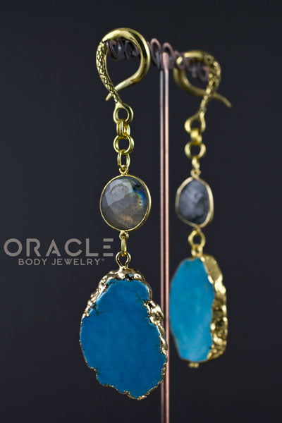 Crossover With Gold Plated Faceted Labradorite and Synthetic Turquoise