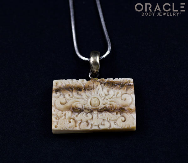 Carved Fossilized Mammoth Ivory Pendant with Chain