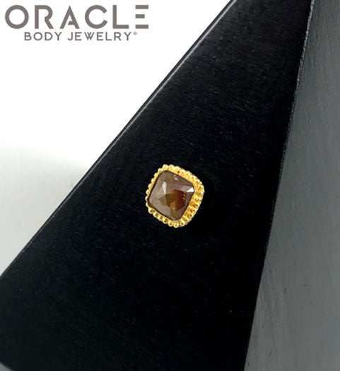 14k Rose Cut Diamond Threadless Gold End