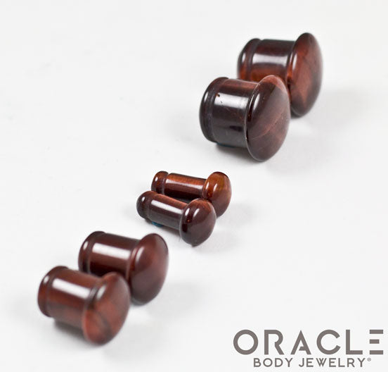 Red Tiger Eye Single Flare Plugs