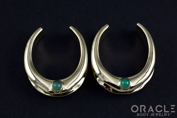 "1-1/4"" (32mm) Brass Saddles with Chrysoprase"