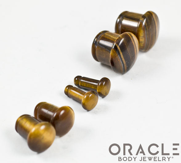 Yellow Tiger Eye Single Flare Plugs