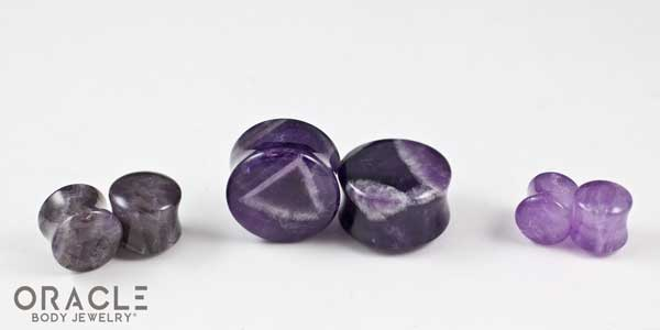 Amethyst Double Flare Plugs