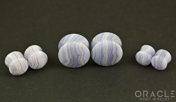 Blue Lace Agate Double Flare Plugs