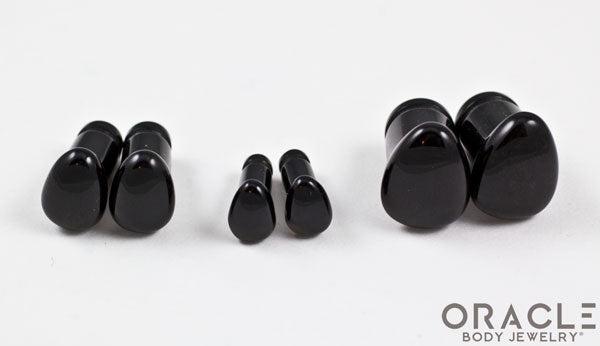Obsidian Single Flare Teardrop Plugs