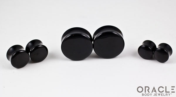 Black Onyx Double Flare Plugs