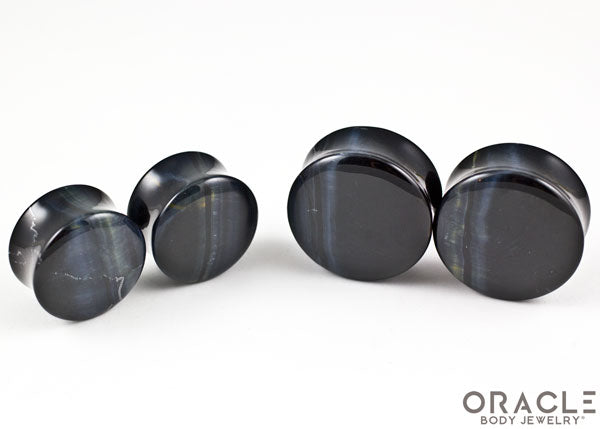 Blue Tiger Eye Double Flare Plugs