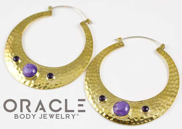 Brooklyn in Yellow Brass with Charoite and Amethyst