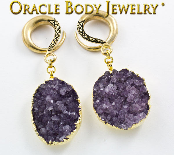 Crossover with Gold Plated Rough Amethyst(CEL39)