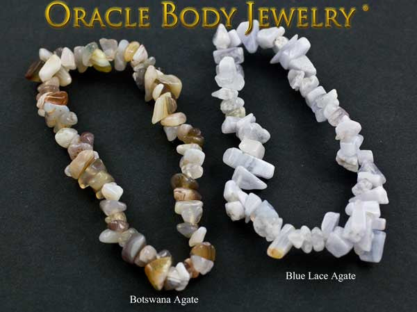 Botswana Agate and Blue Lace Agate Chip Bracelet