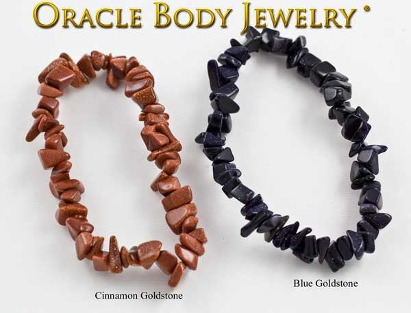 Cinnamon Goldstone and Blue Goldstone Chip Bracelet