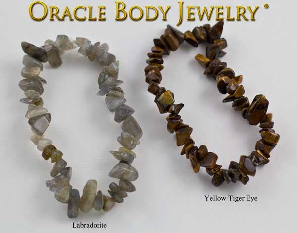 Labradorite and Yellow Tiger Eye Chip Bracelet