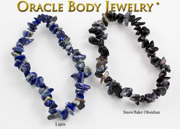 Lapis and Snowflake Obsidian Chip Bracelet