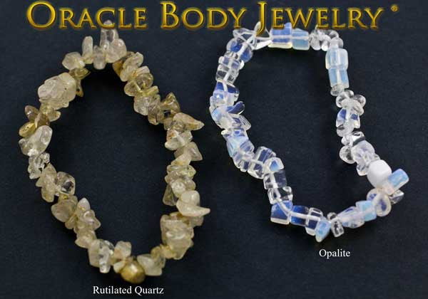 Rutilated Quartz and Opalite Chip Bracelet