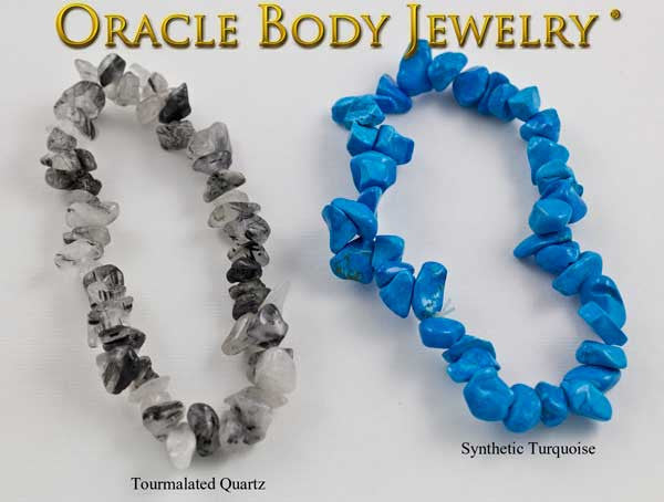 Tourmalated Quartz and Dyed Howlite Chip Bracelet