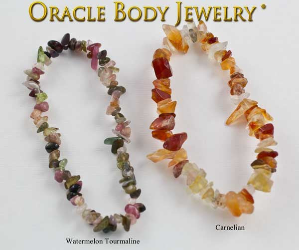Watermelon Tourmaline and Carnelian Chip Bracelet