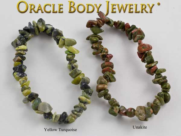 Yellow Turquoise and Unakite Chip Bracelet