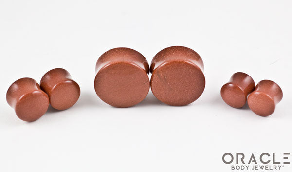 Cinnamon Goldstone Double Flare Plugs